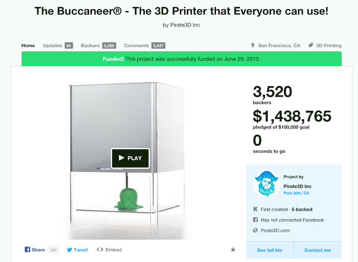 pirate 3D kickstarter page for buccaneer 3D printer