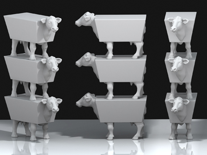 3D printed stacking cows sculpture from david ness