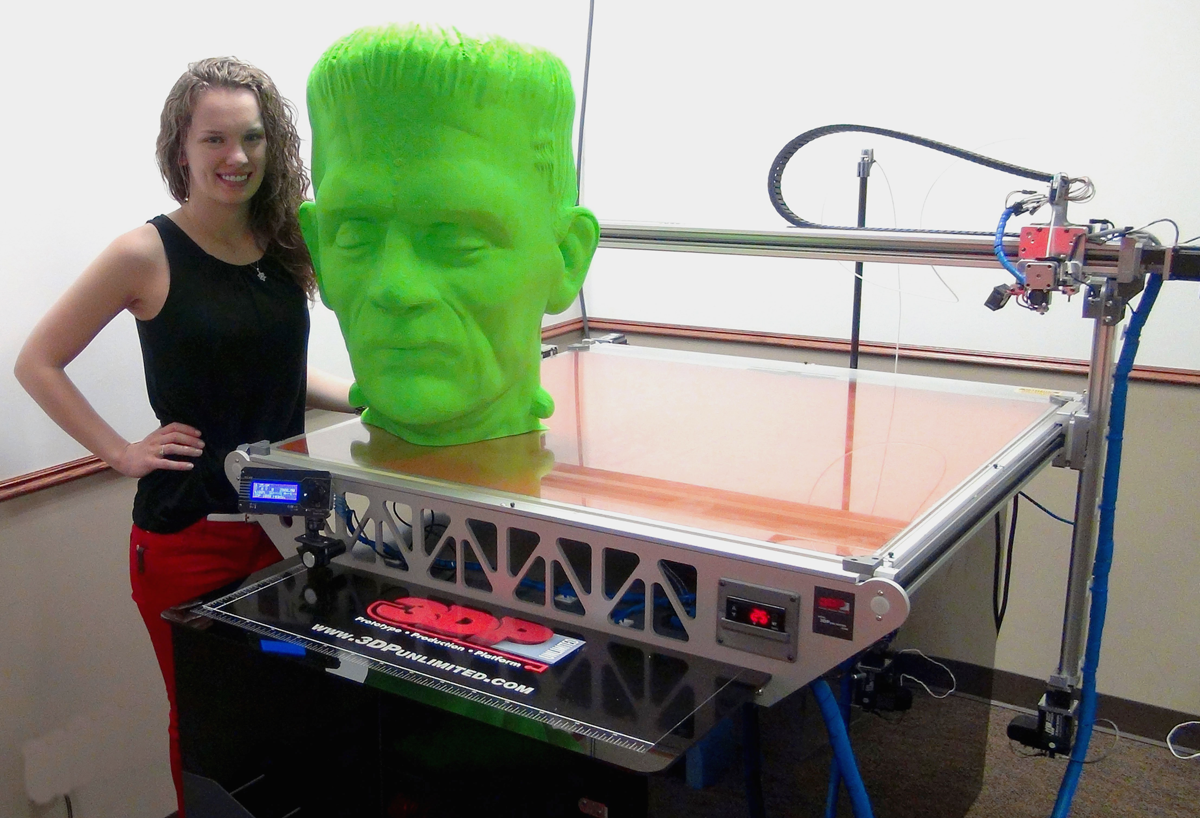 3DP Unlimited 3D prints Frankenstein head for halloween