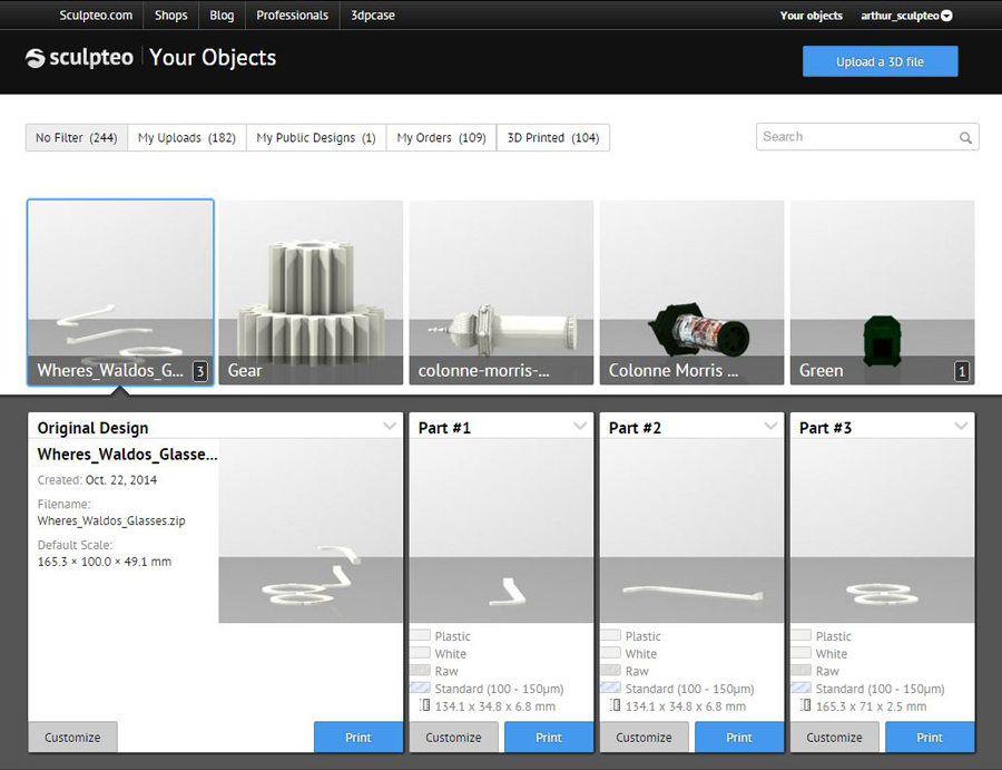 3d printing multipart selection tool