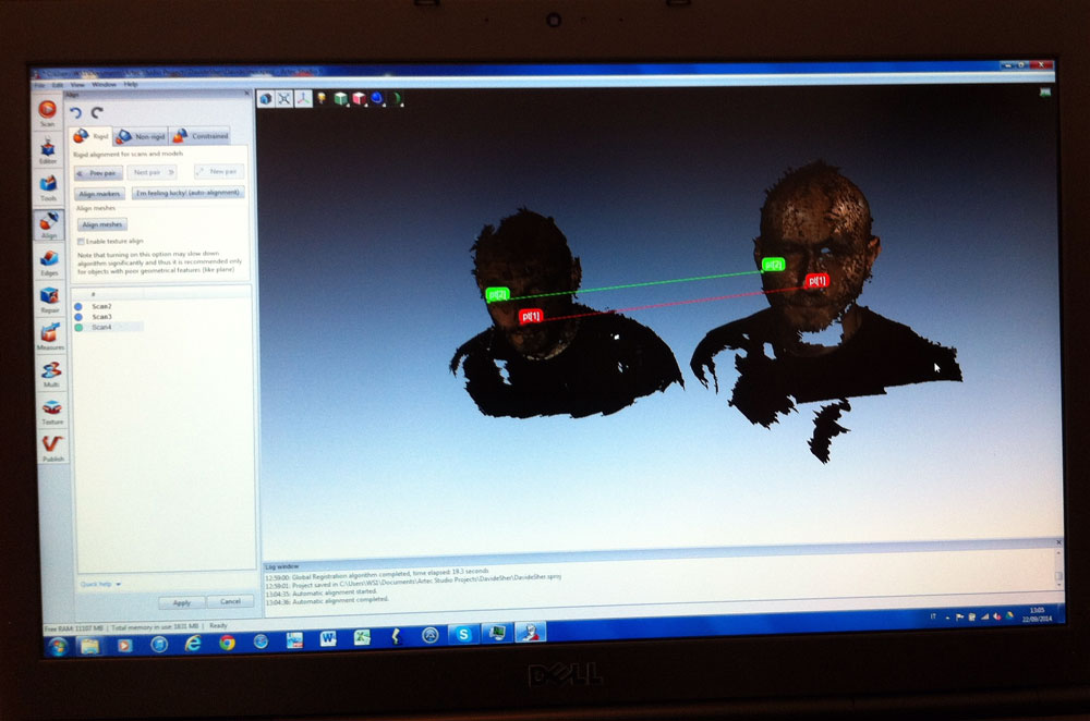 artec 3d scanning screen