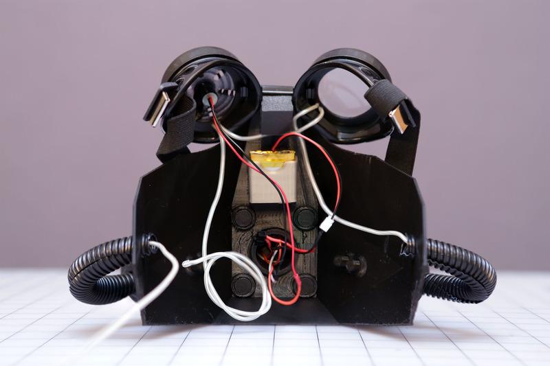 gas mask 3D printed from adafruit