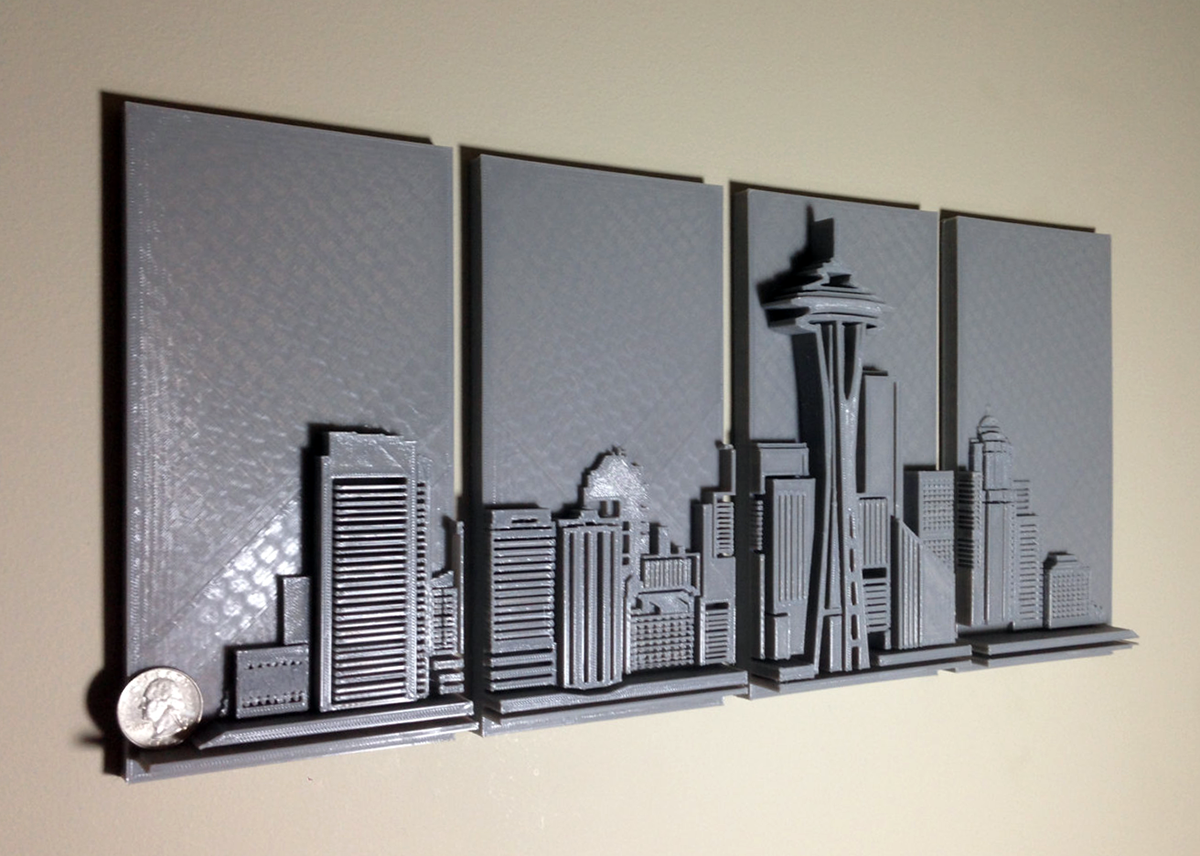 3d printed seattle skyline wall art 3d printing industry. Black Bedroom Furniture Sets. Home Design Ideas