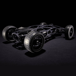 3D printed rubber band car from Pasadena's Art Center College of Design