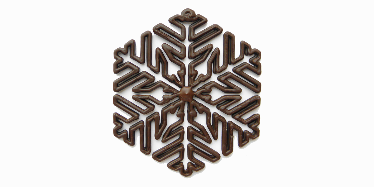 3d printed chocolate snowflake from chocedge