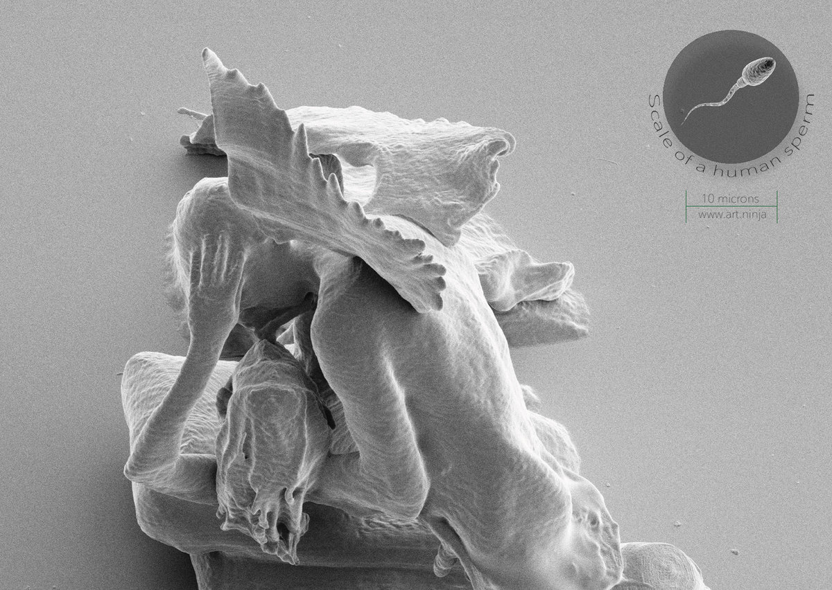 Cupid and Psyche 3D printed nanosculpture by jonty hurwitz