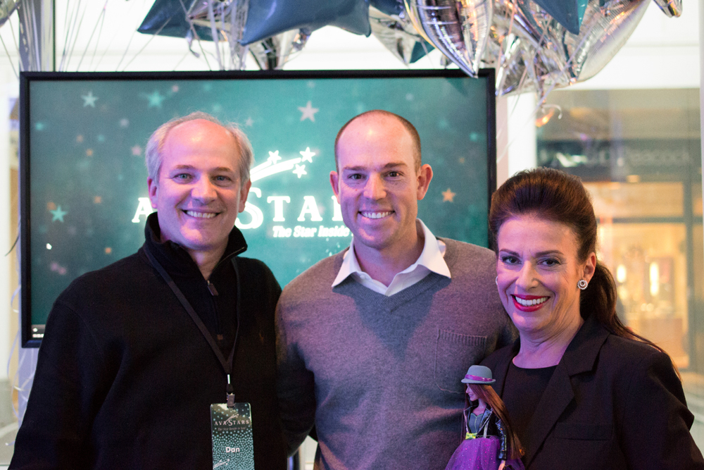 Possiblity Place leaders Jill Barad and Dan Lauer with Bears Kicker Robbie Gould at AvaStars 3D Printing experience in Oak Brook