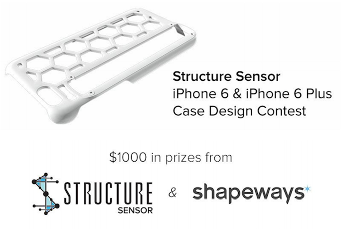 occipital shapeways 3D printing for structure sensor iphone 6 case