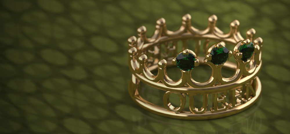 3d printed crown ring polychemy_queen