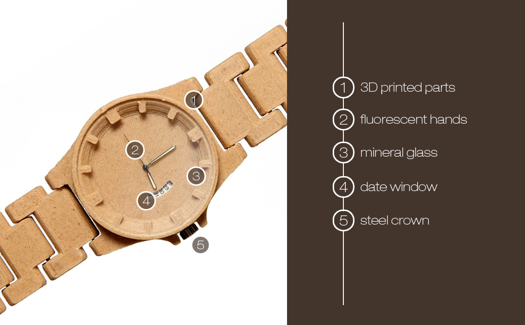 3D printed wood watch