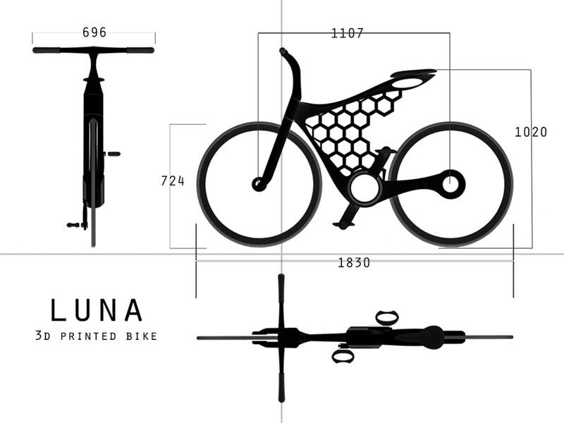 luna 3d printed bicycle