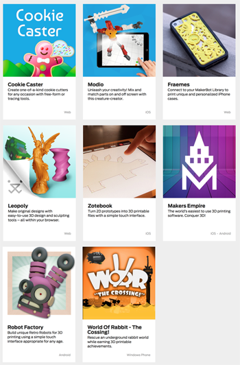 makerbot ready apps 3D printing apps