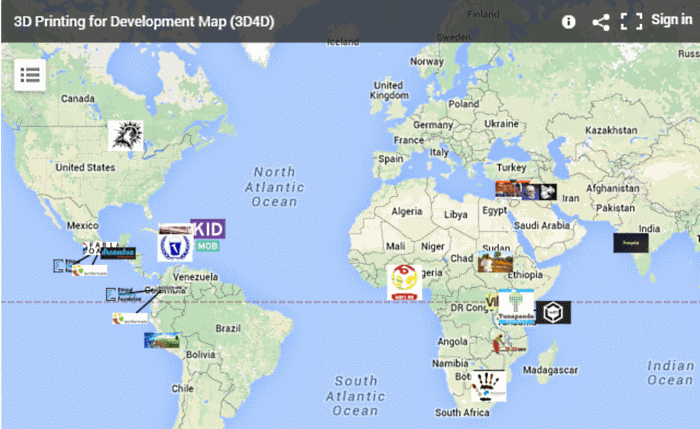 techfortrade 3d printing project map