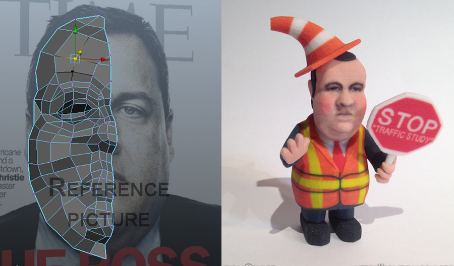 3D printed chris christie 3D political cartoon