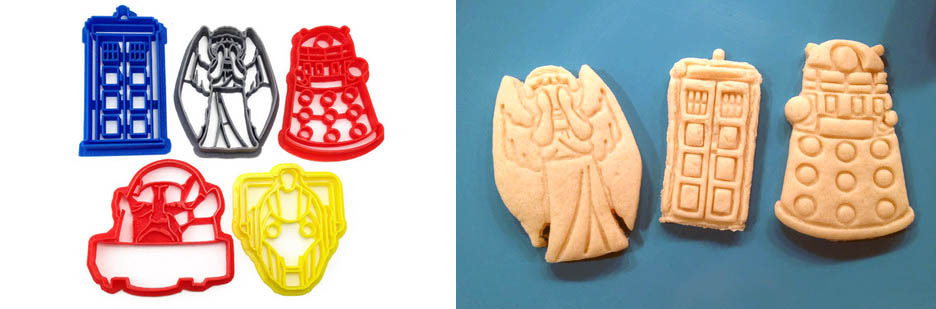 3D printed dr. who cookie cutters with cookies