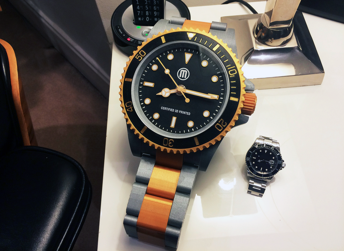 giant 3D printed rolex with small rolex
