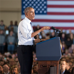 obama addresses crowd at boise state university's 3D printing lab