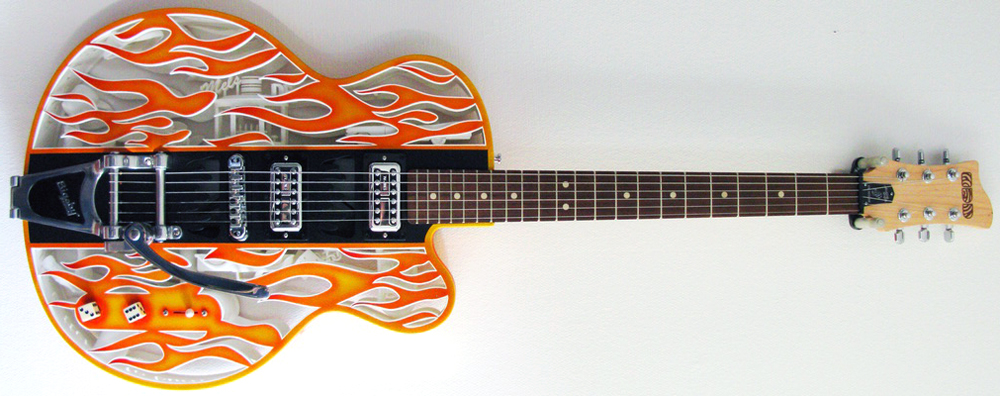 3D printed american graffiti semi-acoustic guitar by olaf diegel