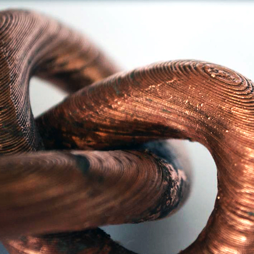 3D printed copper filament filamet from virtual foundry