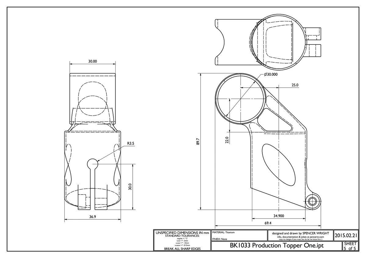 3D printed bike part schematics from spencer wright