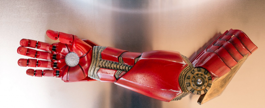 3D printed iron man arm from limbitless solutions presented by robert downey jr