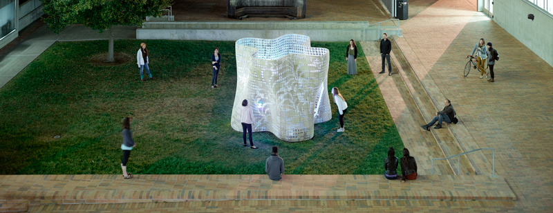 Bloom 3D printed concrete structure from emerging objects