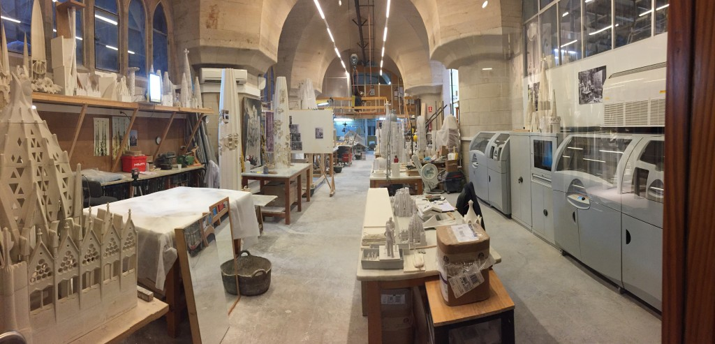 There are two Projet CJP 3D printers in the basement of the Sagrada Familia
