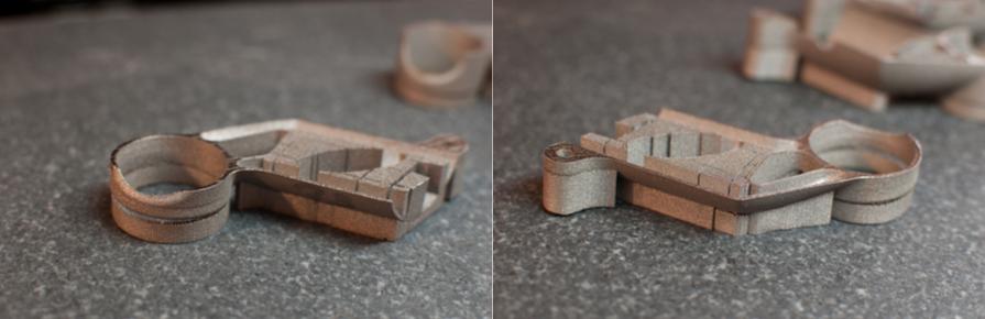 side by side of build 1 3D printed metal bike part