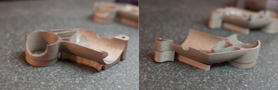 side by side of build 2 3D printed metal bike part
