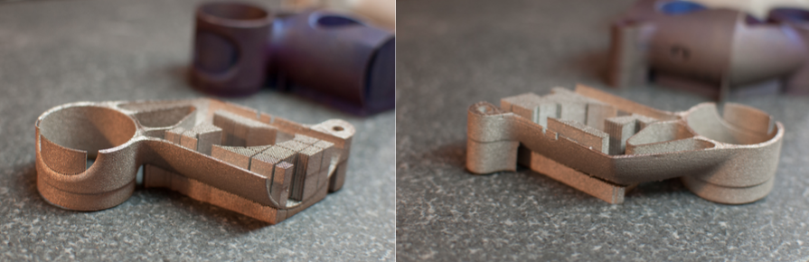 side by side of build 3 3D printed metal bike part