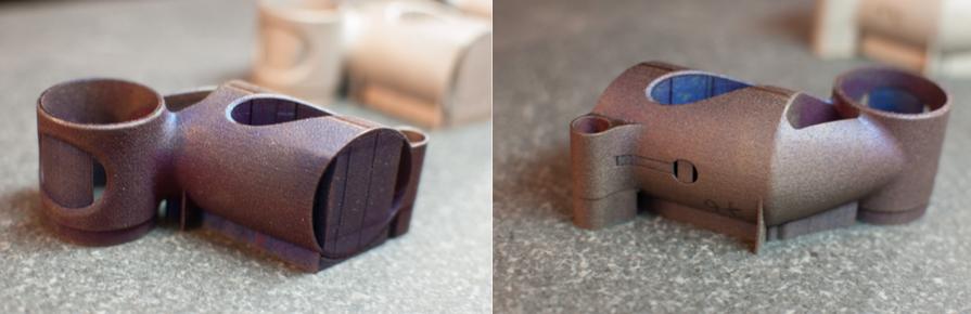 side by side of build 4 3D printed metal bike part