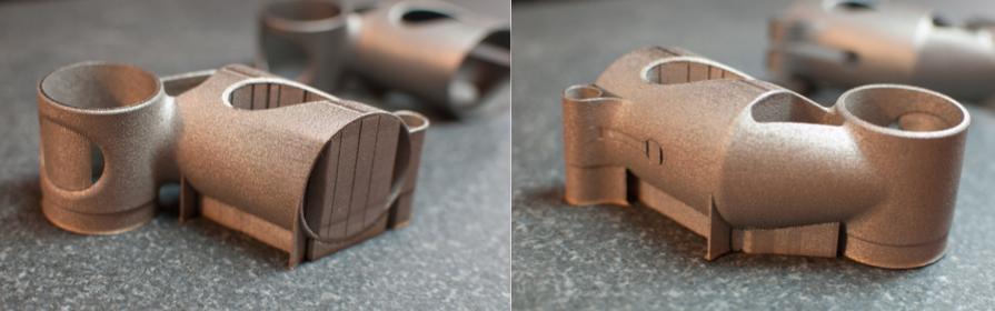 side by side of build 5 3D printed metal bike part