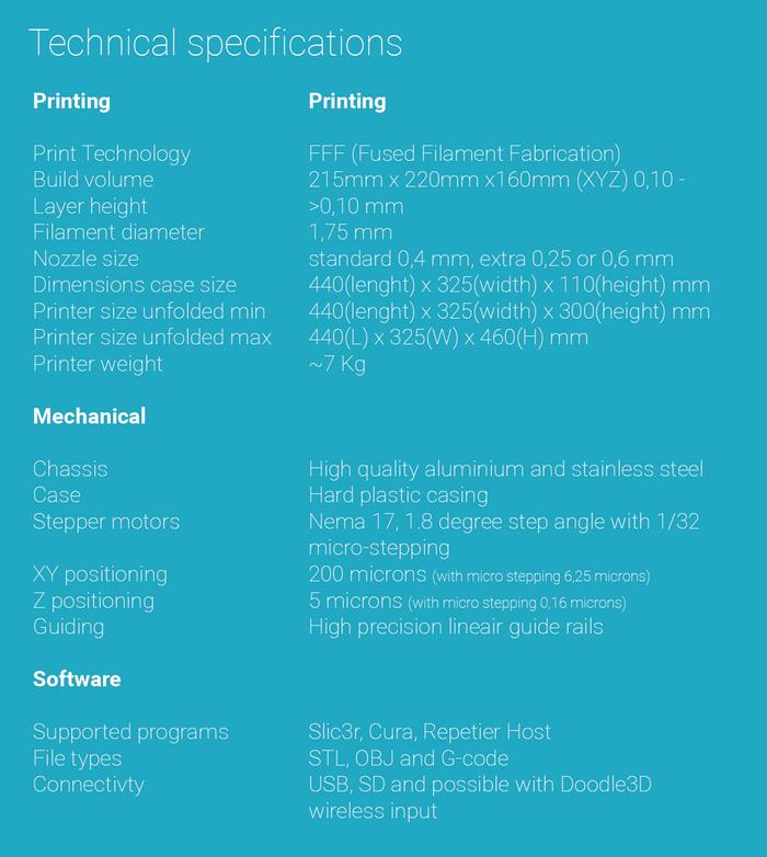 Focus 3D by flow 3D printer specs