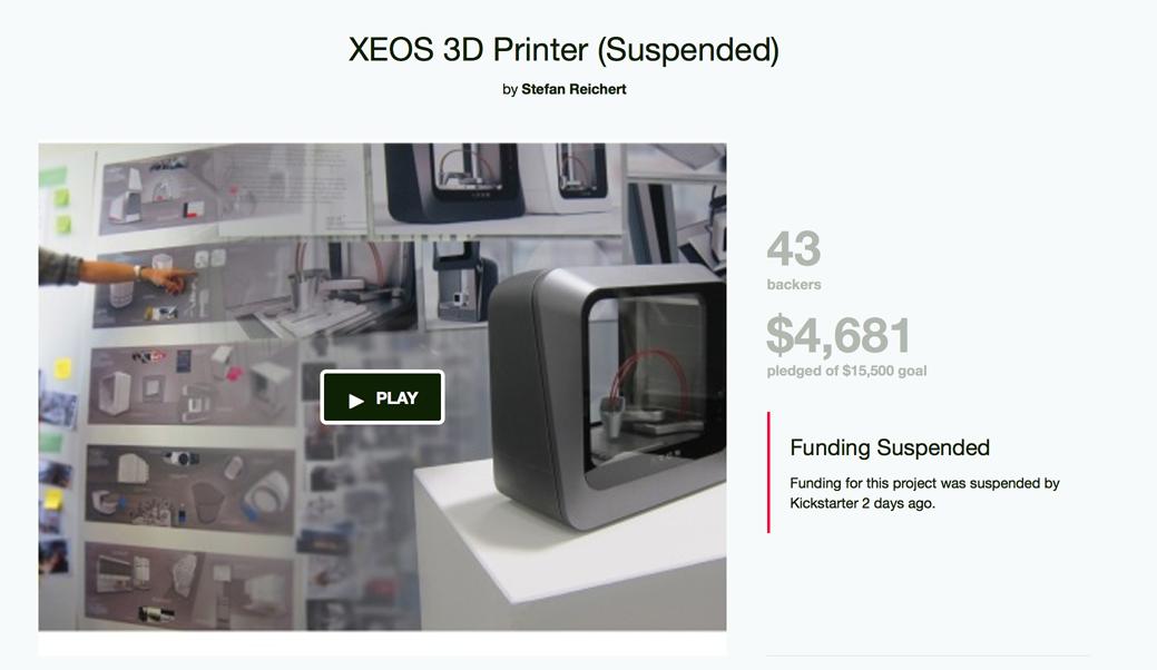 fake xeos 3D printer campaign on kickstarter