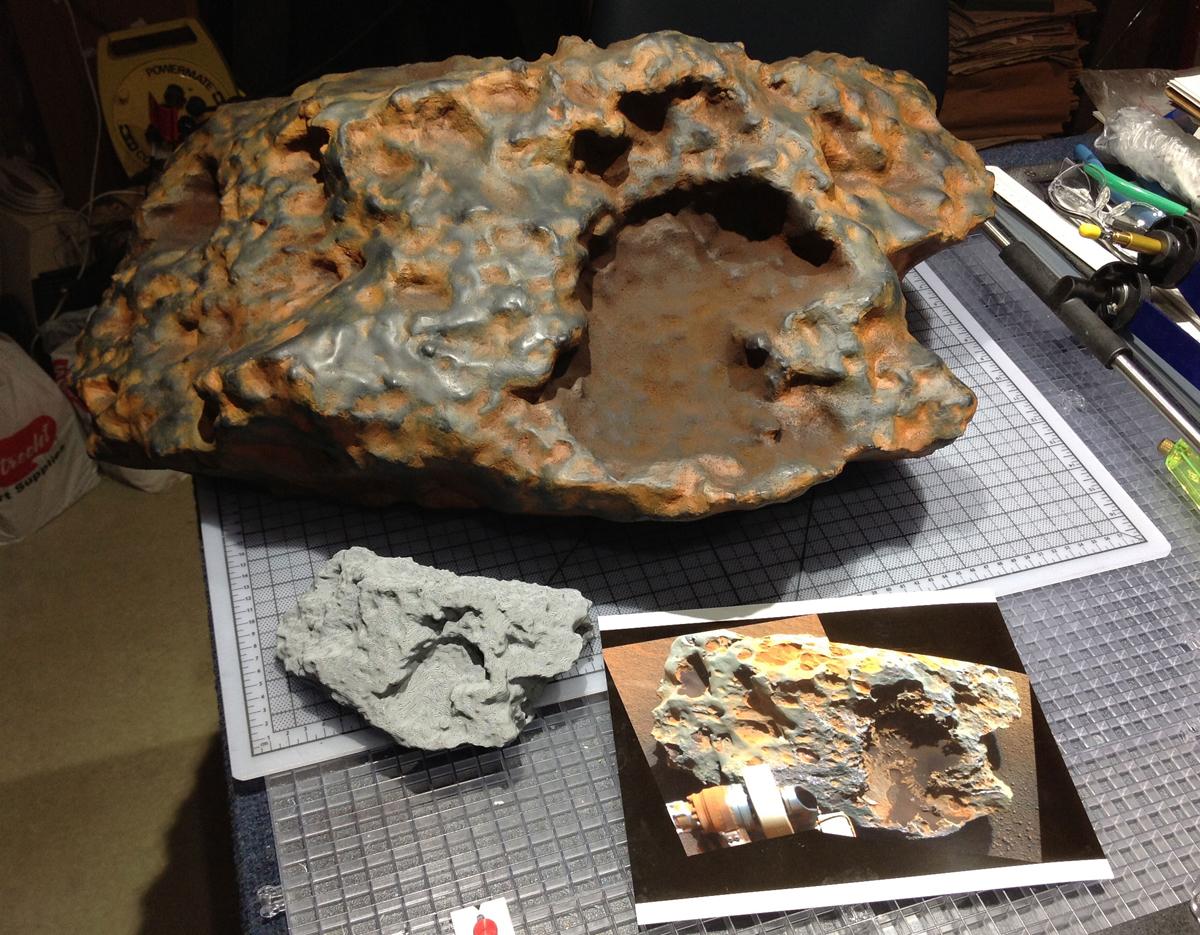 3D printed meteorite chunk