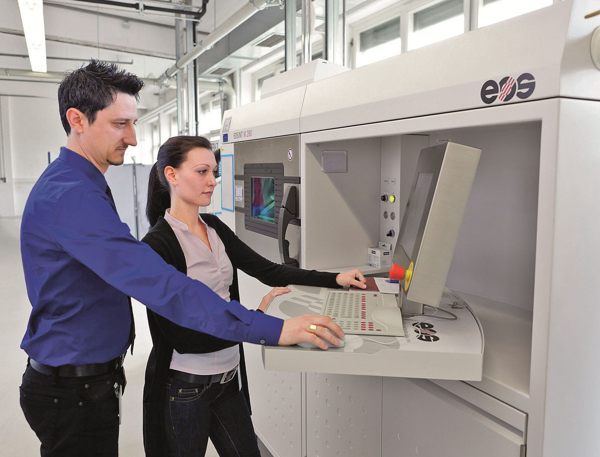 EOS 3d printer for MSU aerospace engines pratt & whitney airbus 3D printed nickel bosses for jetliner