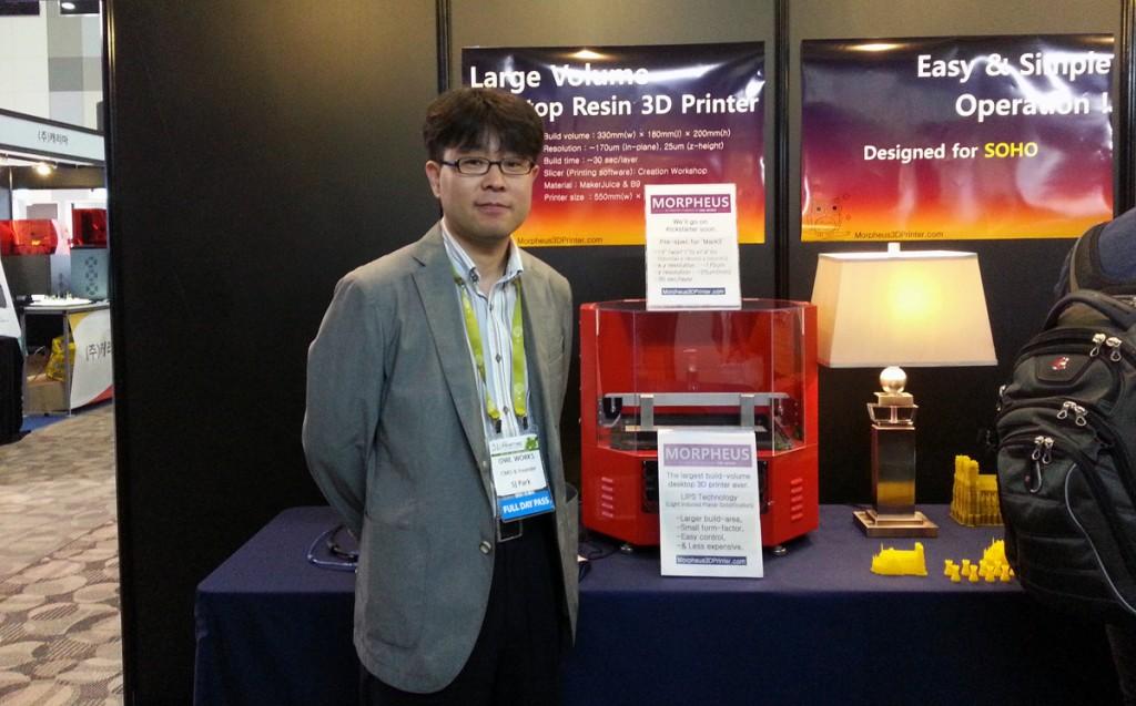 SJ Park (LabC) with Morpheus Resin 3D Printer at Inside 3D Printing Seoul Korea