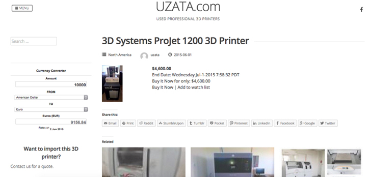 Uzata used 3D printer site