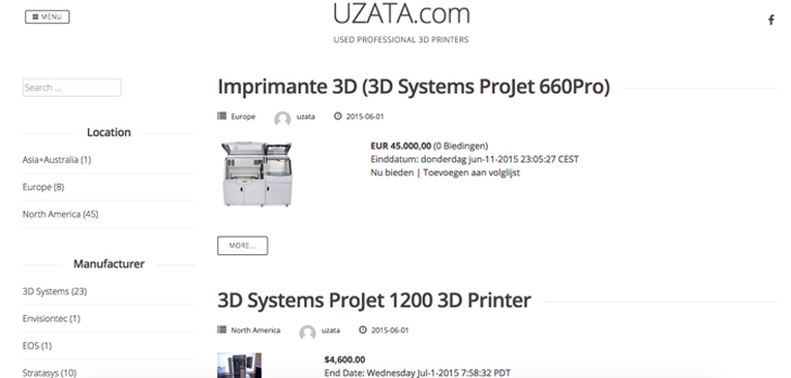 Uzata.com used 3D printer site