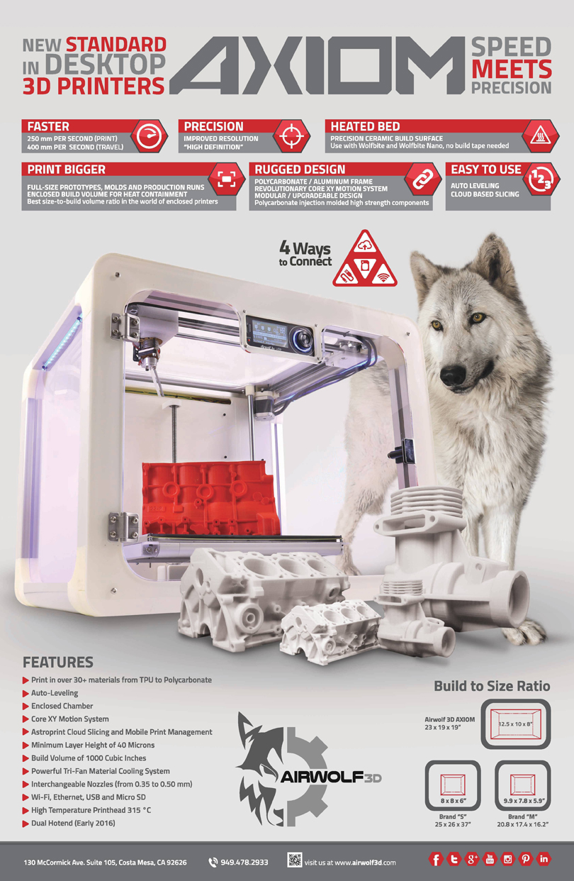 axiom 3D printer from airwolf 3D brochure