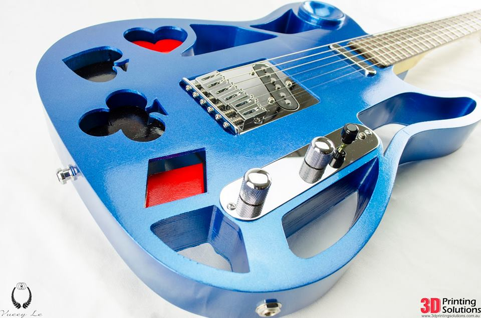 play card guitar by michael tyson painted