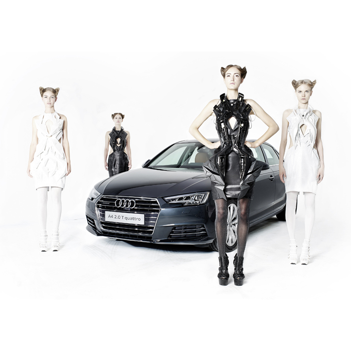 2016-audi-a4- and annouk wipprecht 3D printed dress