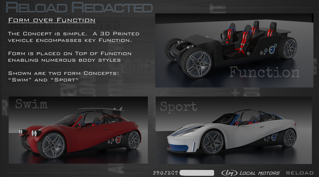 Reload Redacted 3D printed car design from Local Motors various