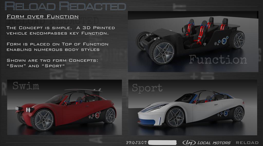 Reload Redacted 3D printed car design from Local Motors various