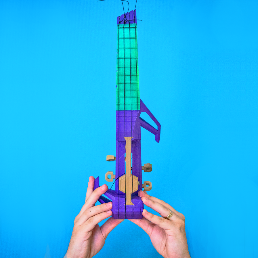juan noguer 3D printed nuke ukelele blue background photo by danielle matich