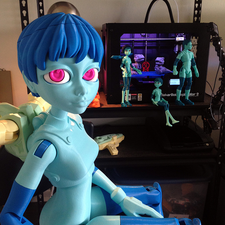 life-sized 3D printed quin doll