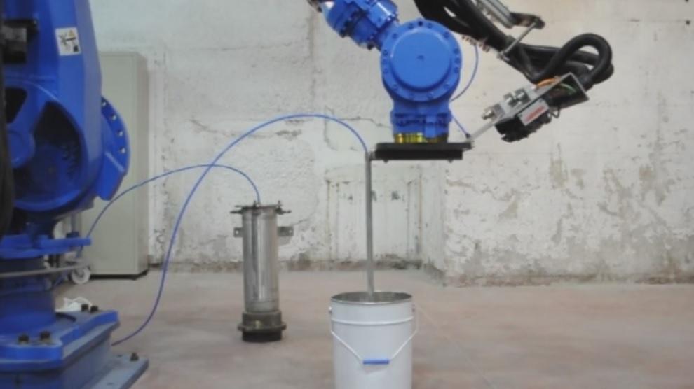 yaskawa robot arm 3d print sand