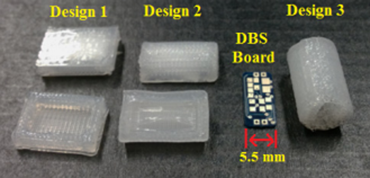3D printed DBS devices in different shapes