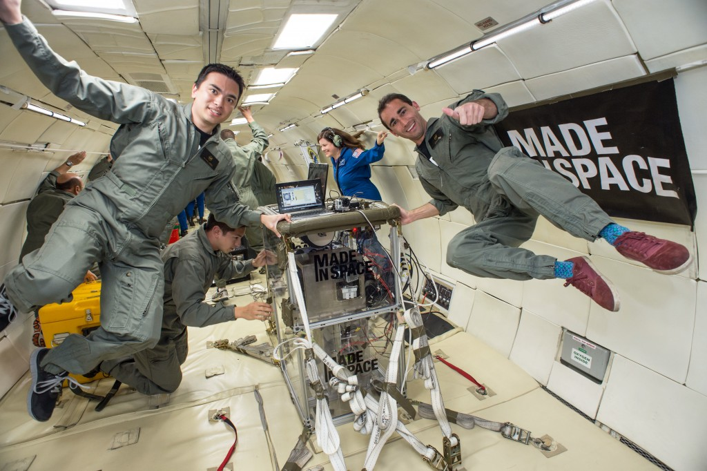 The Zero-G Printer with astronauts in the ISS