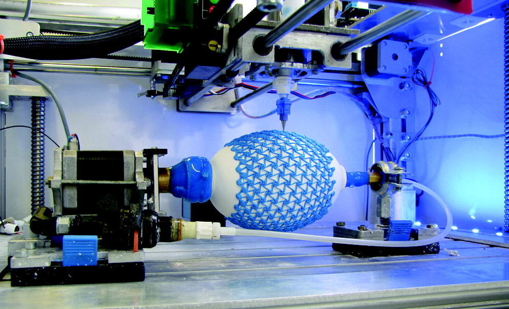 Testing mechanical stress on the 3D printed muscles through inflation
